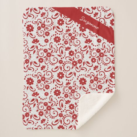 Personalized stylish Red whimsy daisies Sherpa Blanket