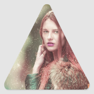 Personalized Stylish Vintage Model Design Triangle Sticker