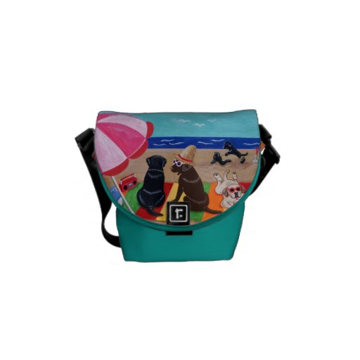Personalized Summer Breeze Labradors Painting Courier Bag
