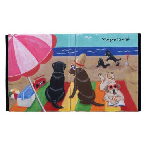Personalized Summer Breeze Labradors Painting iPad Folio Covers
