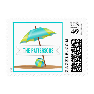 Personalized Summer Time Beach Fun Stamp
