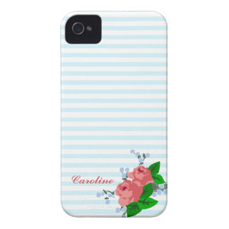 Personalized Summery Stripes and Roses iPhone 4 Case-Mate Case