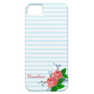 Personalized Summery Stripes and Roses iPhone SE/5/5s Case