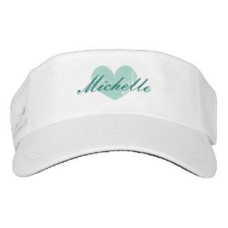 Personalized sun visor cap with vintage aqua heart