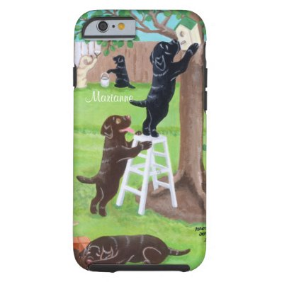 Personalized Sunday Fun Labradors Painting Tough iPhone 6 Case
