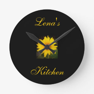 Personalized Sunflower Clock Lenau0027s Kitchen Round Clock