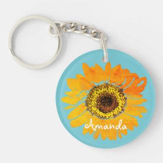 Personalized Sunflower Keychain