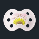 """Personalized sunflower  Pink Gingham Pacifier<br><div class=""""desc"""">Personalized  Pink Gingham Pacifier</div>"""