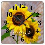 Personalized Sunflower Wall Clock