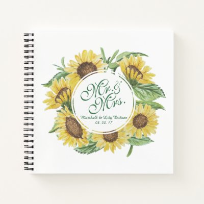 Personalized Sunflower Wreath Wedding Guestbook Notebook