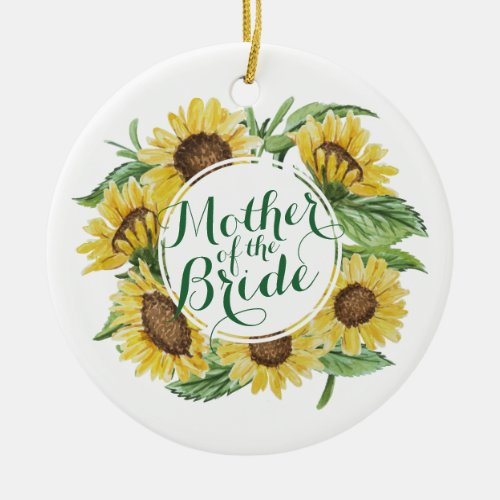 Personalized Sunflower Wreath Wedding | Ornament
