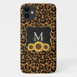 Personalized Sunflowers & Leopard iPhone 11 Case