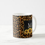 Personalized Sunflowers & Leopard Coffee Mug