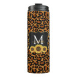 Personalized Sunflowers & Leopard Thermal Tumbler