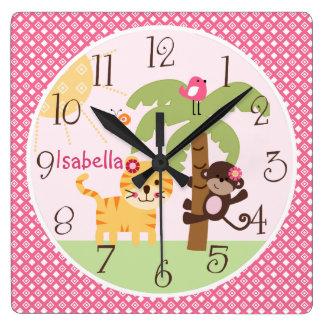 Personalized Sunny Monkey & Tiger Nursery Clock