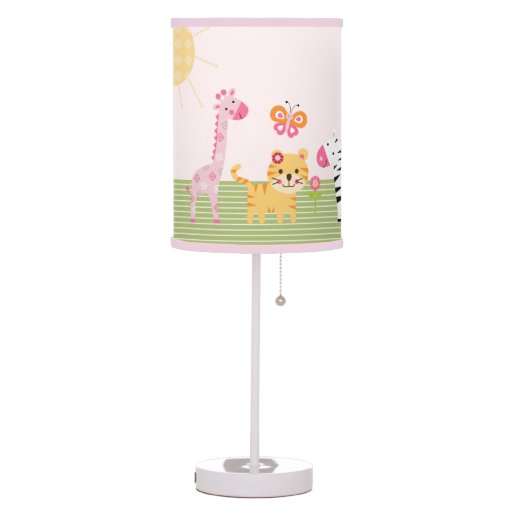 Personalized Sunny Safari Girl Animal Nursery Lamp
