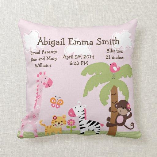 Personalized Sunny Safari/Girl Animals Pillow