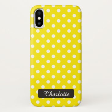 Beach Themed Personalized Sunny Yellow Polka Dots Vintage iPhone X Case