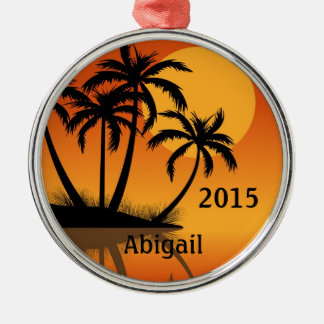 Personalized Sunset and Palm Trees Tropical Beach Metal Ornament
