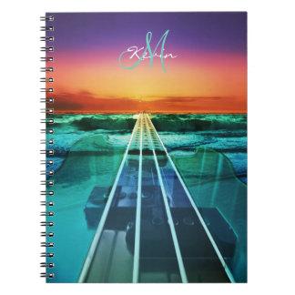 Personalized Sunset Bass Guitar Music Notebook