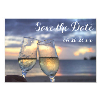 Personalized Sunset Beach Save The Date Flat Cards