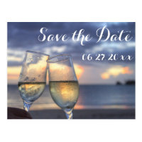 Personalized Sunset Beach Wedding Save The Date Postcards