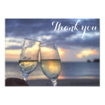 Personalized Sunset Beach Wedding Thank You Cards