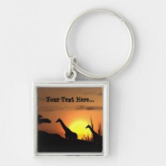 Personalized Sunset Giraffe Silhouette Keychain