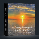 """Personalized Sunset Sea Celebration of Life Binder<br><div class=""""desc"""">This is beautiful personalized Sunset Sea Celebration of Life binder.  You can easily change text color,  font,  size and position by clicking the customize button.</div>"""