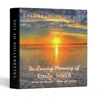 Personalized Sunset Sea Celebration of Life Binder