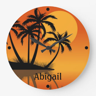 Personalized Sunset Tropical Beach Wall Clock