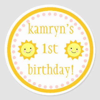 Personalized Sunshine 1st Birthday Sticker