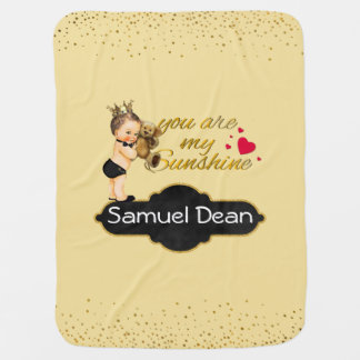 Personalized Sunshine Song   Prince Nursery Throw Swaddle Blanket