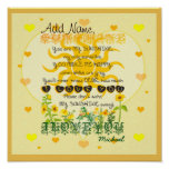 Personalized Sunshine with Hearts Poster