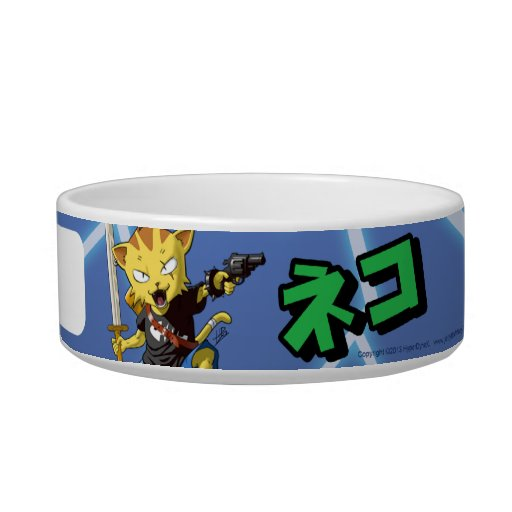 Personalized Super Cool Cat Boy with Gun and Sword Pet Food Bowl