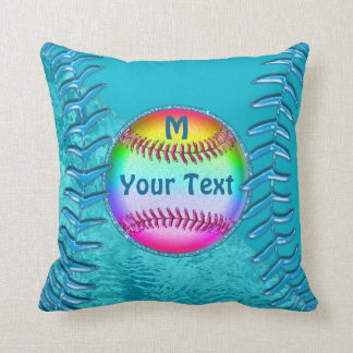 Personalized Super Cute Turquoise Softball Pillows