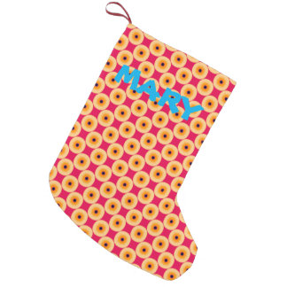 Personalized Super Cute Yellow and Pink Polka Dot Small Christmas Stocking