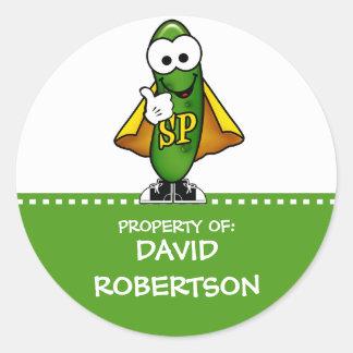 Personalized Super Pickle (green) Round Sticker