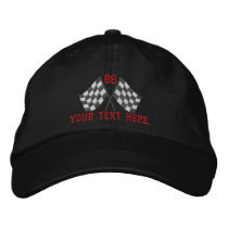Personalized Supercharged Racing Flags Embroidery Embroidered Baseball Cap