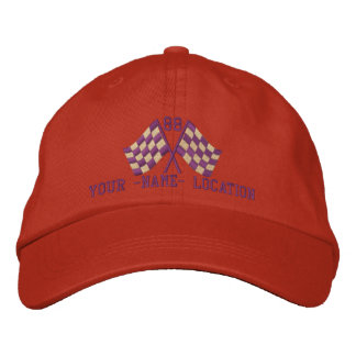 Personalized Supercharged Racing Flags Embroidery Embroidered Baseball Hat