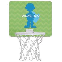 Personalized Superhero Boy Silhouette Green Blue Mini Basketball Hoop