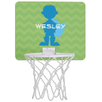Personalized Superhero Boy Silhouette Green Blue Mini Basketball Hoop