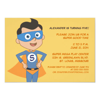 Personalized Superhero Kids Birthday Party Invites