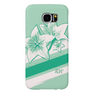 Personalized Surf Green and cream modern Art Lilly Samsung Galaxy S6 Cases