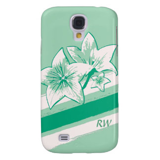 Personalized Surf Green and cream modern Art Lilly Samsung Galaxy S4 Covers