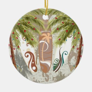 Personalized Surfboards and Palm Trees Beach Double-Sided Ceramic Round Christmas Ornament