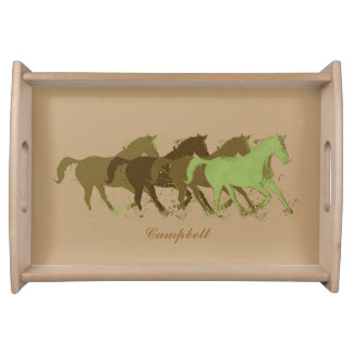 personalized surname with horses illustration serving tray