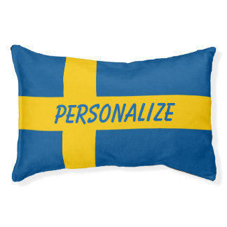 Personalized Swedish flag dog bed for your pet