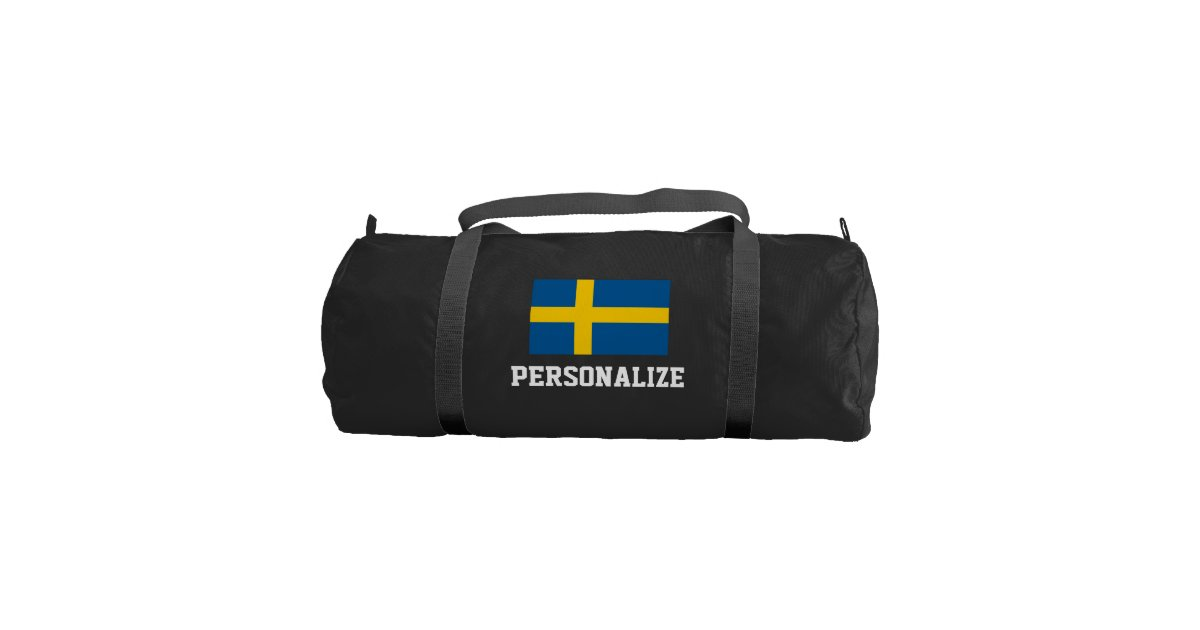 cb0988ee6777 Personalized swedish flag duffle gym bag for sport