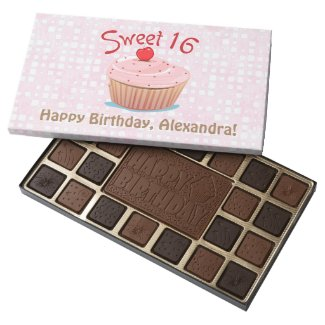 Personalized Sweet 16 16th Birthday 45 Piece Box Of Chocolates